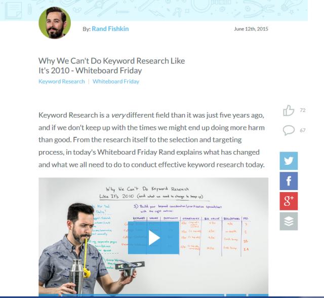 """Der Video-Podcast """"Whiteboard Friday"""" vom MOZ-Gründer und SEO-Experten Rand Fishkin ist das Aushängeschild des MOZ-Blogs - und sorgt für regelmässig hohe Verbreitung auf allen Plattformen (Bild: Screenshot, MOZ-Blog)."""