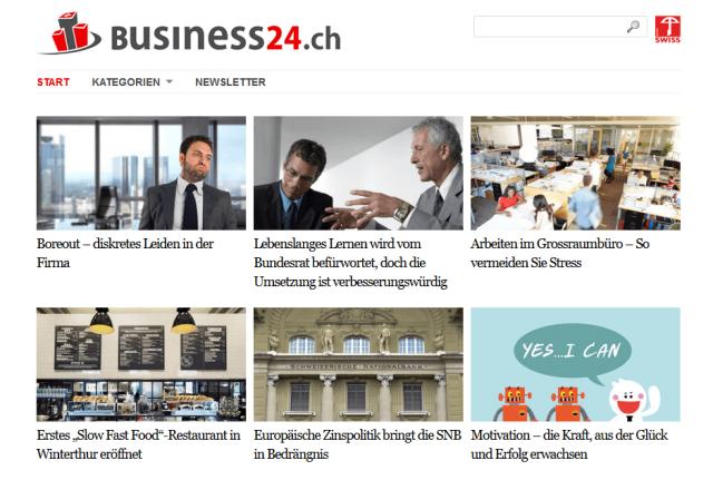 Bild-Raster-Menü mit Bildunterschriften benötigen viel Platz. Auf Smartphone-Displays können nicht alle Informationen auf einmal abgebildet werden (Bild: Screenshot business24.ch Webseite)
