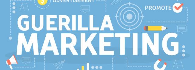 Guerilla-Marketingkonzept. Unternehmensförderung und -werbung. Alternative Taktiken zur Verbreitung von Informationen. Flache Vektor-Illustration